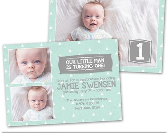 PSD Photoshop Template First Birthday Party Invitation Card Template - BC141