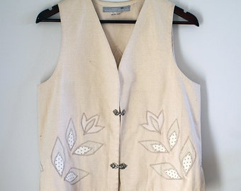 Vintage White Biege Vest with Embroidery