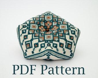 Tribal Geometry Biscornu - PDF CHART Cross Stitch Pattern / biscornu pattern Instant Download