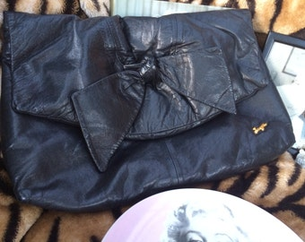 Vintage 80's Faigen Large Big black bow front soft clutch bag handbag