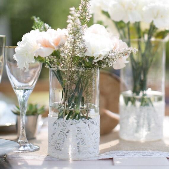 Hnliche artikel wie vase spitze vintage hochzeit - Decoration table mariage fleurs naturelles ...