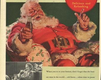 Original Saturday Evening Post Coke Santa Claus ad in VG condition, 1930s, Coca Cola - 534