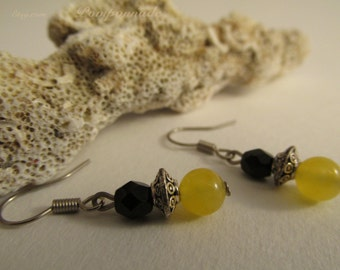 2922 - Earrings Citrine  and Czech Glass