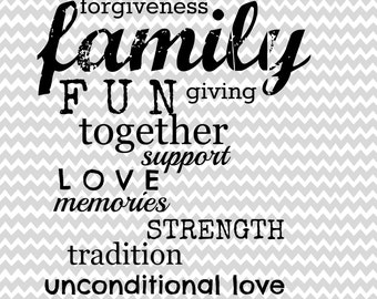 Family Words Digital Printable Wall Art - 8x10 Instant Download