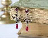Bridal Earrings , Steampunk Jewelry Earrings ,  burgundy  Silver Earring , Swarovski crystal drop earring by Talila Korolker