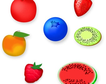 Commercial Use Instant Download  Use Clip Art  -  Apple, Peach, Strawberry, Kiwi, Watermelon, Blueberry, Raspberry