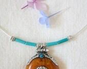 Ethnic Tibetan, copal amber necklace amulet pendant silver Tibetan Ghau, Boho, Choker Gypsy