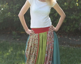 Colorful Cotton Long Maxi Skirt