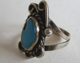 Mexico vintage Turquoise sterling silver Ring size 5.5