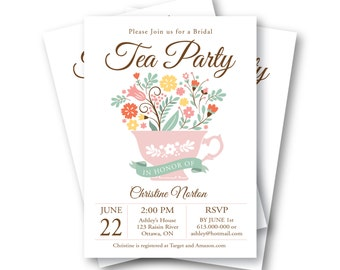 Bridal Shower Tea Party Invitation, Customized Printable  - tea cup vintage flowers, floral tea party