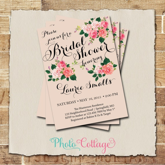 Bridal shower invitation rustic bridal brunch invitation for Wedding brunch invitations