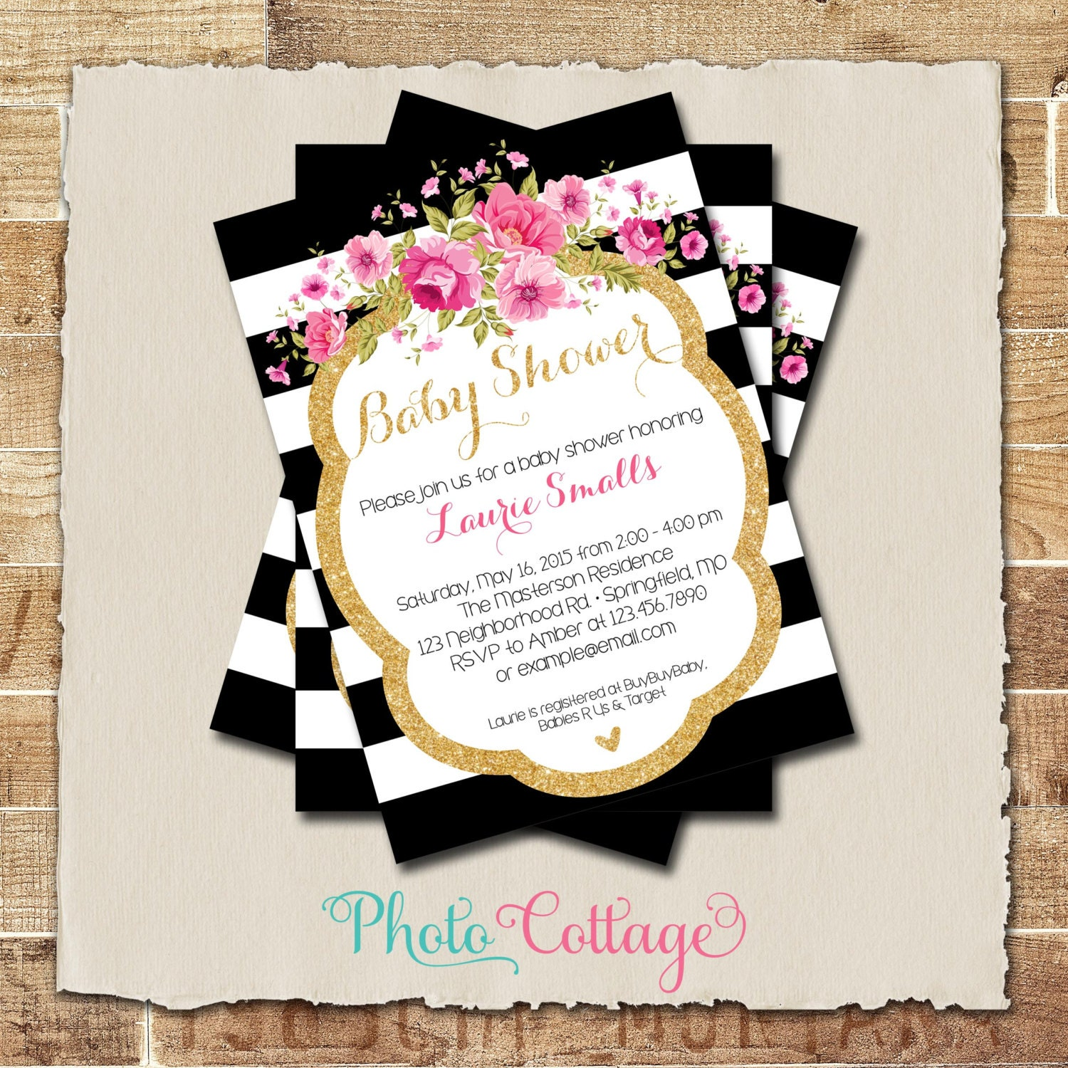 Baby Shower Invitation Glitter Gold Pink Invitation Baby