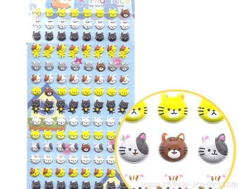 Adorable Kitty Cat Face Shaped Animal Puffy Sticker Seals | Cute Animal Inspired Scrapbook Decorating Supplies
