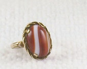 Vintage 20's 30's Gold Filled Clark and Coombs C and C Art Deco Banded Agate Ring Adjustable