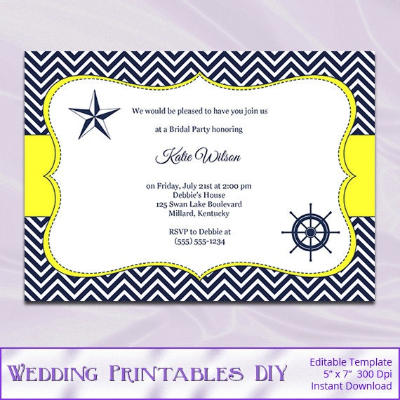 Navy and yellow bridal shower invitation by for Yellow bridal shower invitations