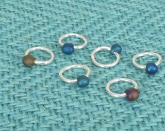 Sterling Silver Plated Stitch Markers, Iris Matte Glass Drop Bead, set of 9