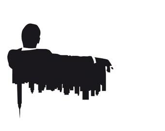 Digital Collage - Illustration Mad Men - TV Retro -  TV -  Art  - Art Print - Print Poster - Wall Decor