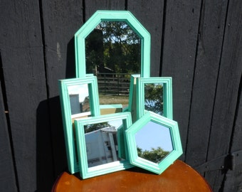 116 - REDUCED=Mirrors -Gallery Wall set of 5 -Shabby Chic -Sea Glass -Distressed -Wood