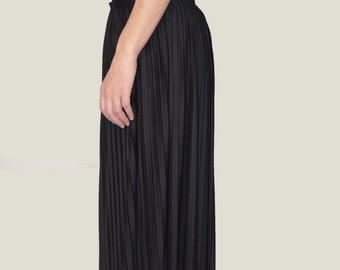 Black Maxi Skirt/Black Long Skirt/Elastic Maxi Skirt/Waist Long Solei Skirt/Fashion Skirt/F1035