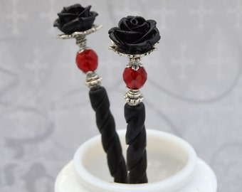 Bella Rosa - Red and black Rose Hairsticks - Victorian Rose Hair Sticks - Gothic Hair Sticks - BRHS - Free US Shipping