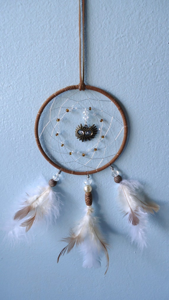 Owl Dream Catcher - Owl Decor - Bedroom - Crystal Ornaments - Bohemian Style - Unique Gifts - Fall