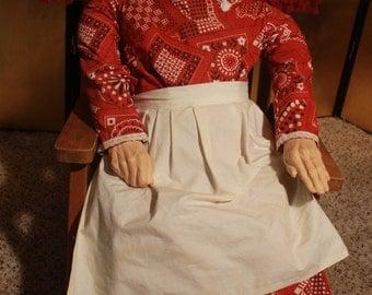 Primitive Ceramic Grandma Folk Doll