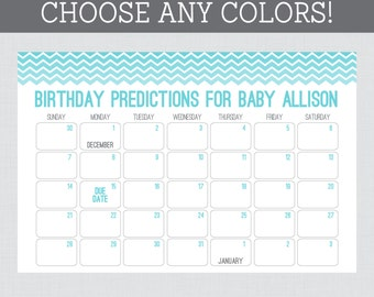baby birthday predictions printable chevron baby shower calendar