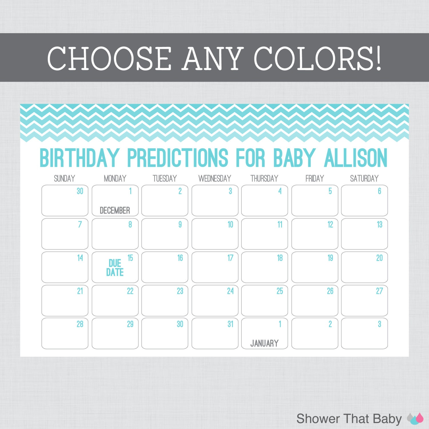baby birthday predictions printable chevron baby by showerthatbaby