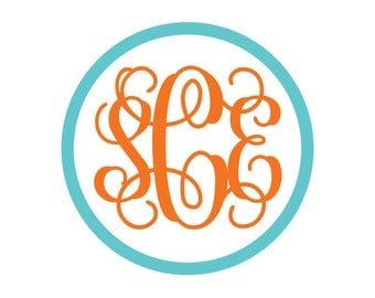 BOGO Vine Monogram with Border Vinyl Decal - 2 Color - Choose from 14 colors in various sizes and fonts
