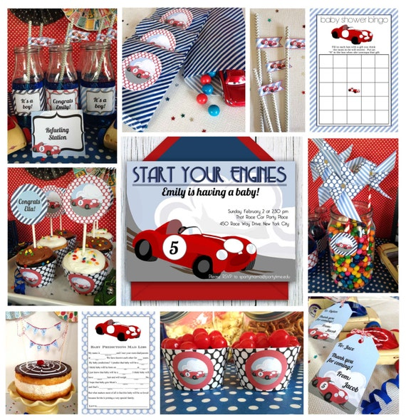 race car baby shower printable package shower invitation