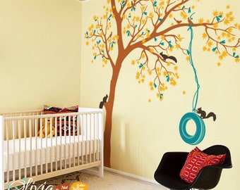Large Maple Tree vinyl wall decal, Kids room Wall tree sticker with squirrels and a tire swing -NT016