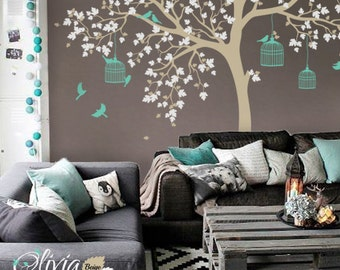 Large Fairytale Tree vinyl wall decal with birds and birdcages stickers -NT012
