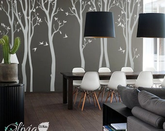Large Forest Spring Tree vinyl wall decals with swallow stickers -NT020