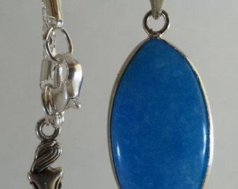 Bright blue jade pendant necklace NS1008