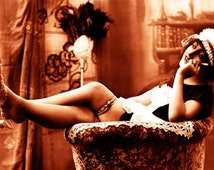"""Vintage Risque Nude Exotic - French Maid #018 Canvas Art Poster 16"""" x 24"""""""