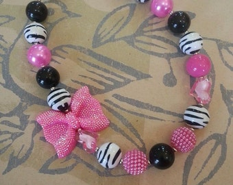 Pink, black, and Zebra Rhinestone Bow Chunky Necklace *Custom colors available*