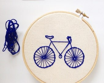 Blue Bicycle Embroidery Wall Art