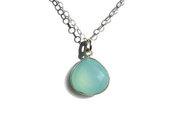 Aqua Chalcedony Necklace, Sterling Silver