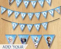 Frozen Birthday Banner - Frozen Banner - Customized Elsa Anna Olaf Happy Birthday Pennant - Birthday Party Printable match Invitation