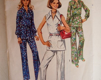Vintage 1970 Simplicity Misses mini jumper or tunic and pants Size 14 Pattern 9361