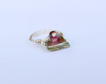 Irridescent Crystal Heart Ring