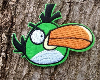 Iron on Sew on Patch:  Green Angry Bird