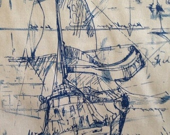 FABRIC SALE - Nautical Ships Fabric - Illustrated Ships Fabric - Nautical Uholstery and Drapery Fabric By the Yard
