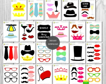 Printable Photo Booth Props–82 Pieces-Wedding Photo Booth–Instant Download-Mustaches–Lips–Glasses–Ties–Crowns–Labels–Photo Booth–Super Pack