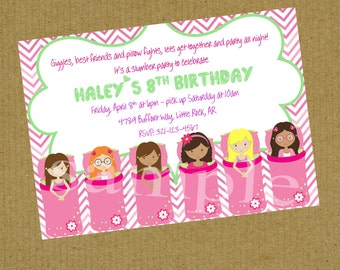 Sleepover Slumber Party  Birthday Invitation Digital or Printed