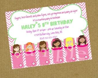 Sleepover Slumber Party  Birthday Invitation Digital or Printed