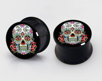 Day of Dead Skull   Plugs,-Flower Skull -Pairs Titanium Anodized Double Flare Ear Plugs Tunnels Earlets Gauges