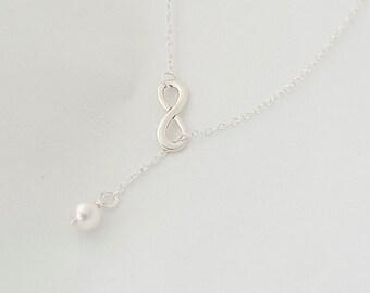 Delicate Necklace, Infinity Necklace, Swarovski Pearl Necklace