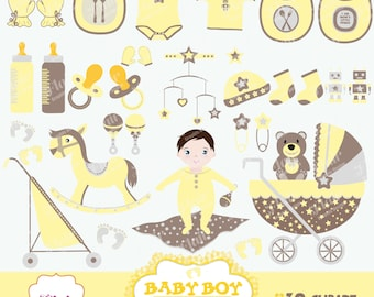 BABY BOY Digital Clipart, Yellow, Baby Shower, Baby Crib, Baby Bottle, Bibs, Stroller, Baby Vector, Scrapbooking, Commercial Use