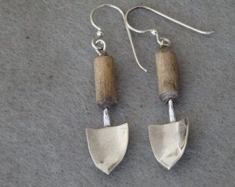 Sterling Silver and Wood Trowel Earrings, Garden Earrings, Dangle Earrings, Silver Shovel Earrings, Organic Garden Tool, Shovel Earrings